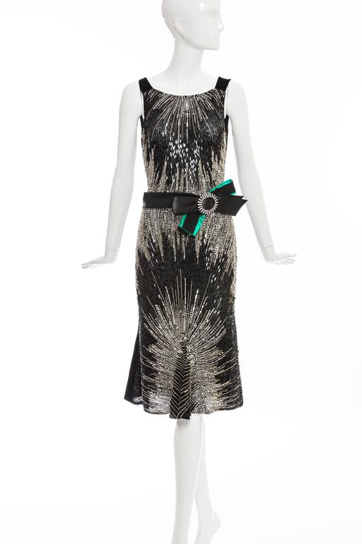 Dolce & Gabbana Black Silk Velvet Evening Dress With Prong Set Crystals In Excellent Condition For Sale In Cincinnati, OH