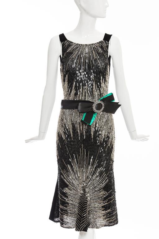 Dolce & Gabbana black silk velvet evening dress labeled