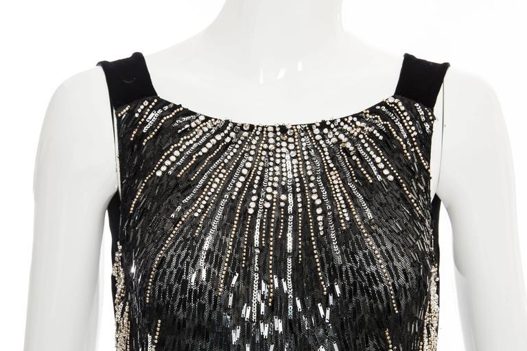 Dolce & Gabbana Black Silk Velvet Evening Dress With Prong Set Crystals For Sale 5
