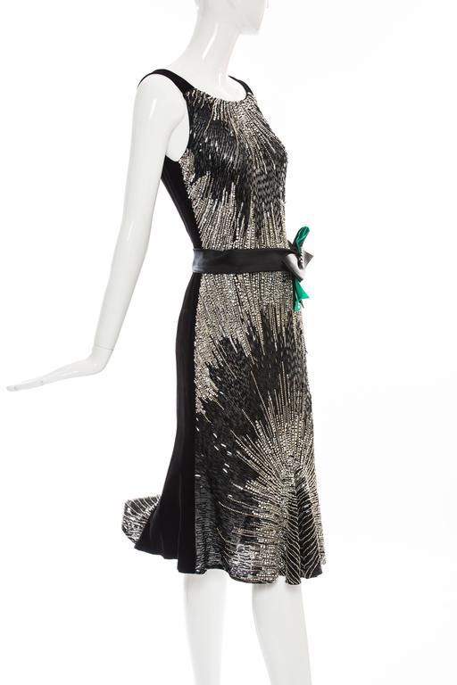 Dolce & Gabbana Black Silk Velvet Evening Dress With Prong Set Crystals For Sale 2