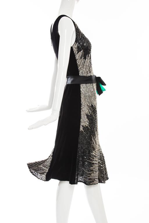 Women's Dolce & Gabbana Black Silk Velvet Evening Dress With Prong Set Crystals For Sale