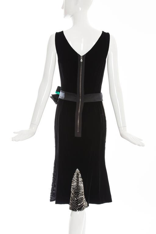 Dolce & Gabbana Black Silk Velvet Evening Dress With Prong Set Crystals For Sale 1