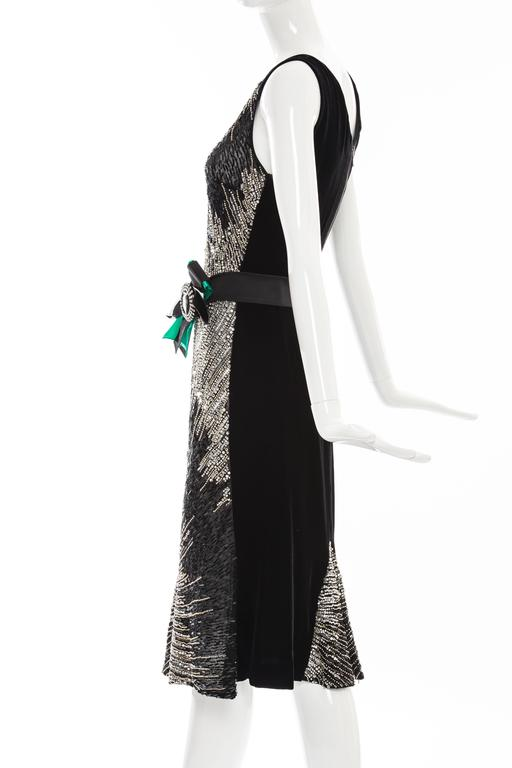 Dolce & Gabbana Black Silk Velvet Evening Dress With Prong Set Crystals For Sale 4