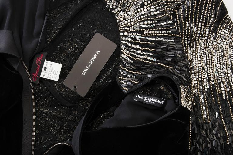 Dolce & Gabbana Black Silk Velvet Evening Dress With Prong Set Crystals For Sale 6