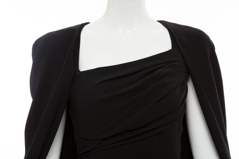 Tom Ford Black Silk Evening Dress With Matching Cape, Fall 2012 For Sale 2