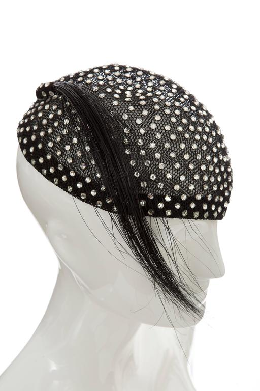 Frank Olive Prong Set Swarovski Crystal Black Mesh Skull Cap, Circa 1950s In Excellent Condition For Sale In Cincinnati, OH