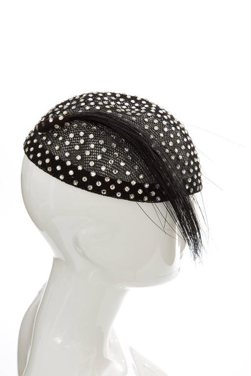 Women's Frank Olive Prong Set Swarovski Crystal Black Mesh Skull Cap, Circa 1950s For Sale