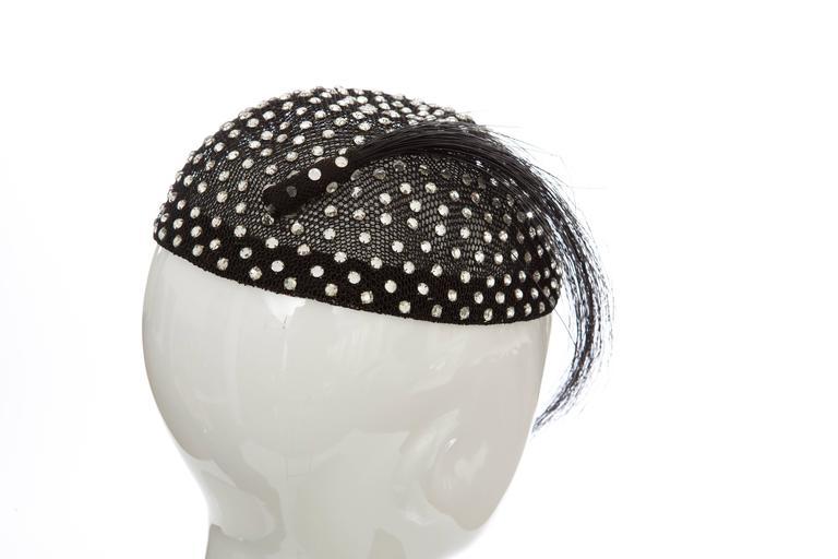 Frank Olive Prong Set Swarovski Crystal Black Mesh Skull Cap, Circa 1950s For Sale 1