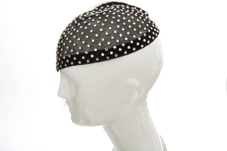 Frank Olive Prong Set Swarovski Crystal Black Mesh Skull Cap, Circa 1950s For Sale 3
