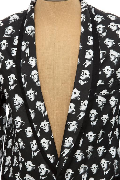 Jeremy Scott Men's Black Cotton Lycra 3-D Movie Sports Jacket For Sale 3