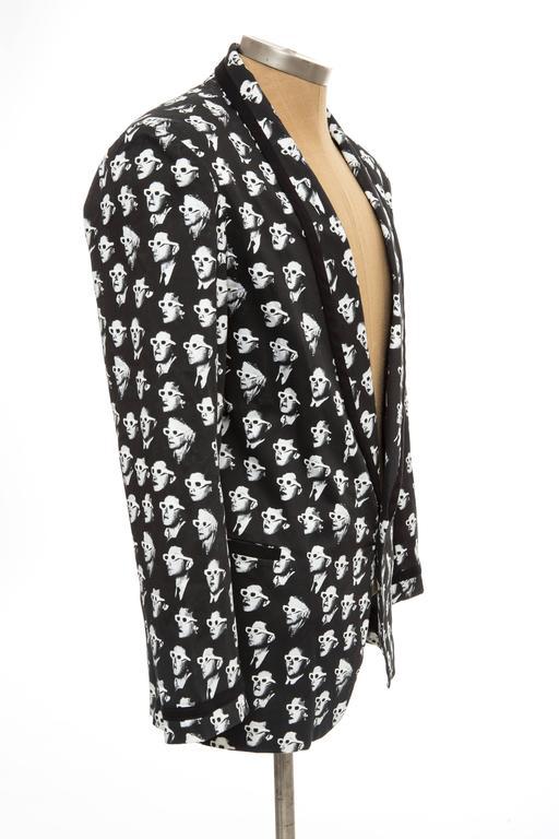 Jeremy Scott Men's Black Cotton Lycra 3-D Movie Sports Jacket For Sale 1
