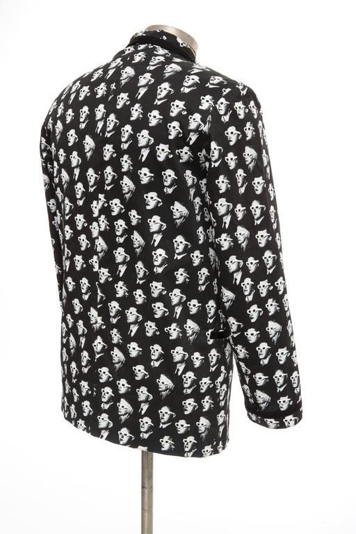 Jeremy Scott Men's Black Cotton Lycra 3-D Movie Sports Jacket For Sale 2