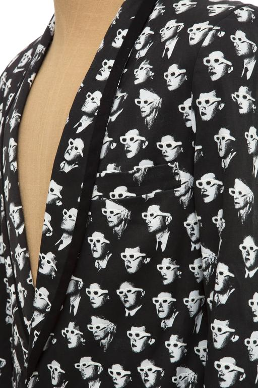 Jeremy Scott Men's Black Cotton Lycra 3-D Movie Sports Jacket For Sale 4