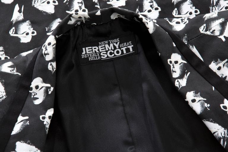 Jeremy Scott Men's Black Cotton Lycra 3-D Movie Sports Jacket For Sale 5