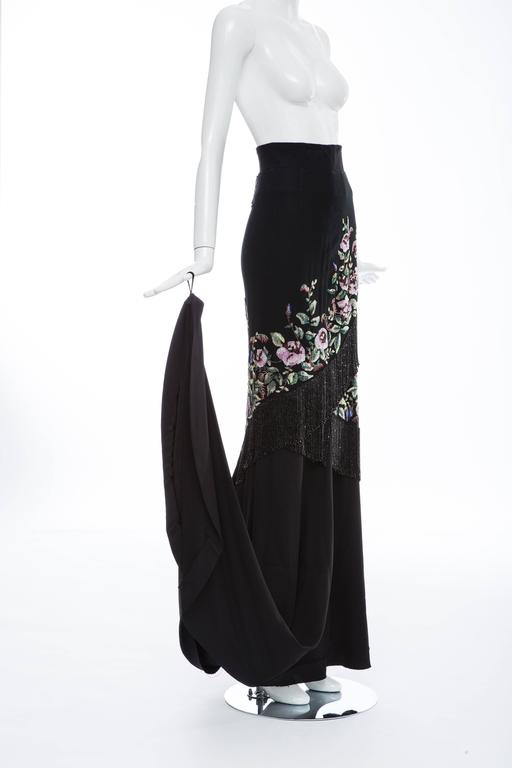 Givenchy Haute Couture Alexander McQueen Runway Black Beaded Skirt, Fall 1998 In Excellent Condition For Sale In Cincinnati, OH