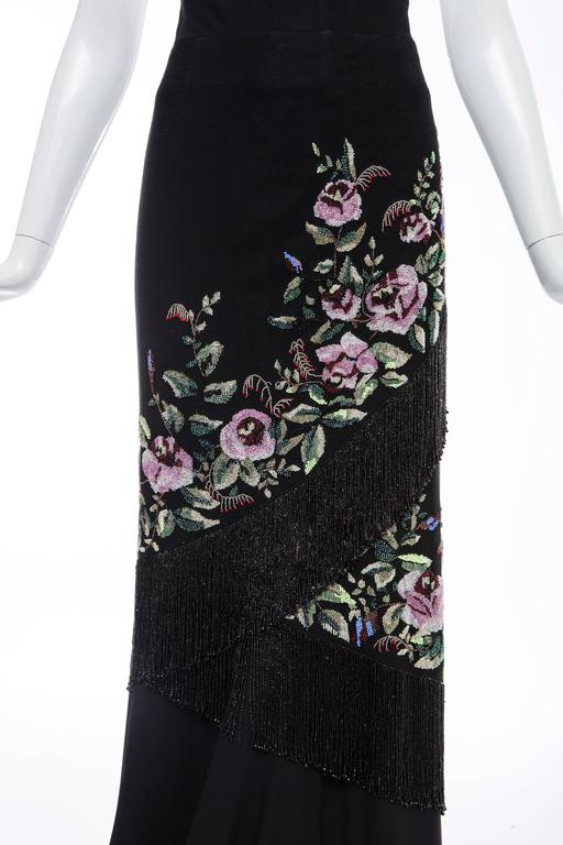 Women's  Givenchy Haute Couture Alexander McQueen Runway Black Beaded Skirt, Fall 1998 For Sale