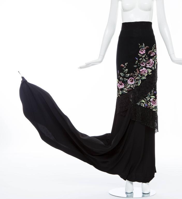 Givenchy Haute Couture Alexander McQueen Runway Black Beaded Skirt, Fall 1998 For Sale 1