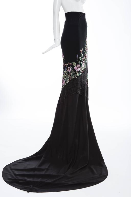 Givenchy Haute Couture Alexander McQueen Runway Black Beaded Skirt, Fall 1998 For Sale 2