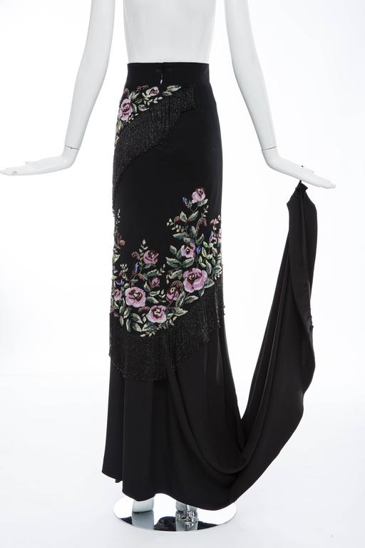 Givenchy Haute Couture Alexander McQueen Runway Black Beaded Skirt, Fall 1998 For Sale 3