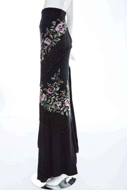 Givenchy Haute Couture Alexander McQueen Runway Black Beaded Skirt, Fall 1998 For Sale 5