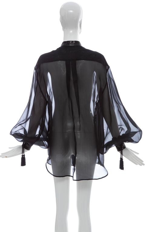 Christian Dior Numbered Black Silk Organza Blouse, Circa 1980's In Excellent Condition For Sale In Cincinnati, OH