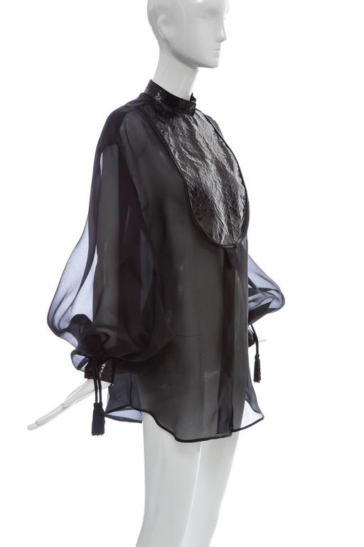 Christian Dior Numbered Black Silk Organza Blouse, Circa 1980's For Sale 1