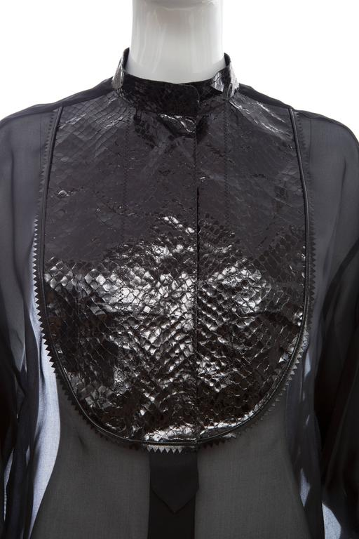 Christian Dior Numbered Black Silk Organza Blouse, Circa 1980's For Sale 2