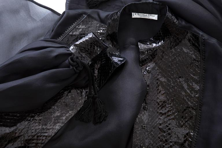 Christian Dior Numbered Black Silk Organza Blouse, Circa 1980's For Sale 5