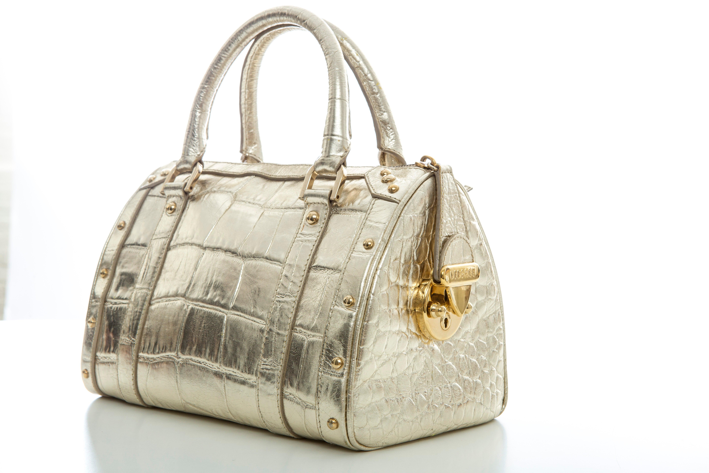 Versace Madonna Embossed Metallic Gold Leather Top Handle Handbag mIVdp5