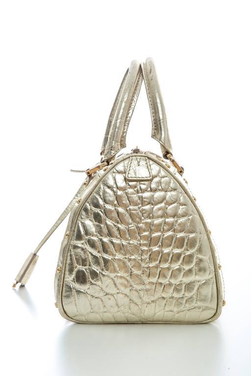 Versace Madonna Embossed Metallic Gold Leather Top Handle Handbag XzUoIP