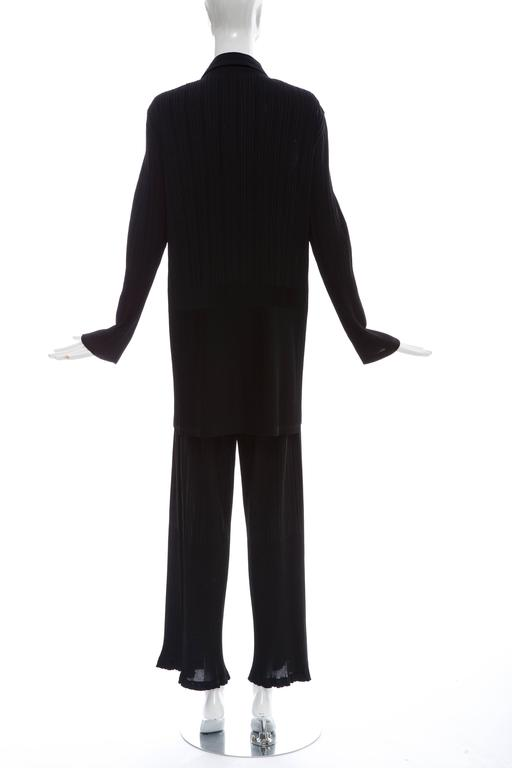 Issey Miyake Black Pleated Polyester Button Front Pant Suit, Circa 1990's In Excellent Condition For Sale In Cincinnati, OH