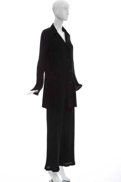 Women's Issey Miyake Black Pleated Polyester Button Front Pant Suit, Circa 1990's For Sale