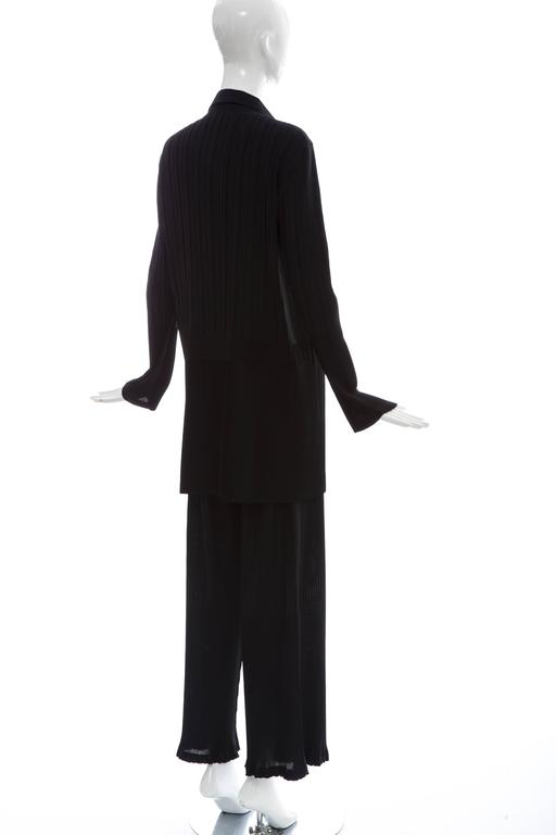 Issey Miyake Black Pleated Polyester Button Front Pant Suit, Circa 1990's For Sale 1