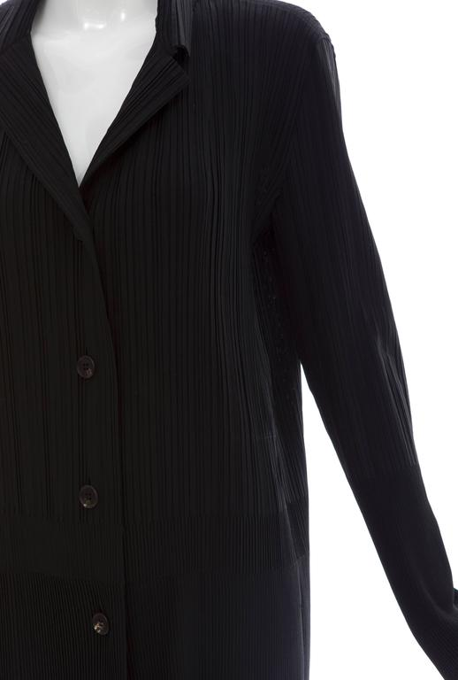 Issey Miyake Black Pleated Polyester Button Front Pant Suit, Circa 1990's For Sale 2