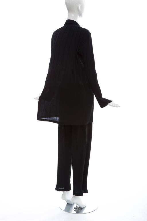 Issey Miyake Black Pleated Polyester Button Front Pant Suit, Circa 1990's For Sale 3