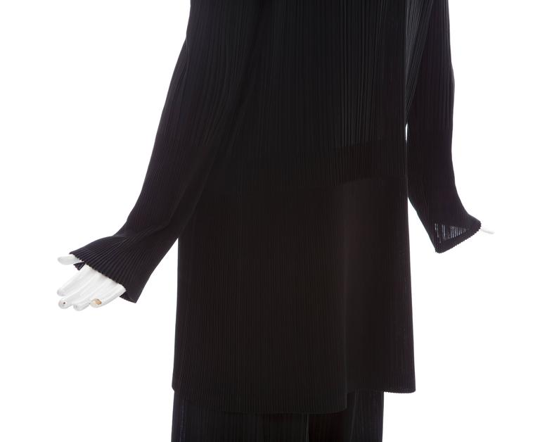 Issey Miyake Black Pleated Polyester Button Front Pant Suit, Circa 1990's For Sale 4