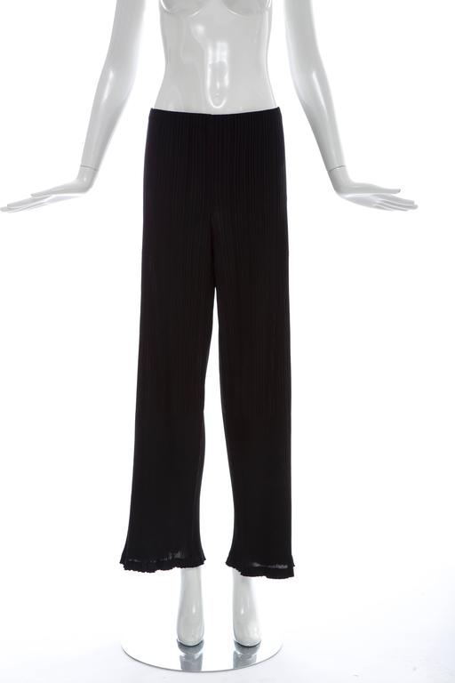 Issey Miyake Black Pleated Polyester Button Front Pant Suit, Circa 1990's For Sale 5