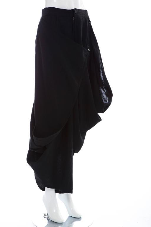 Women's Kansai Yamamoto Black Linen Cotton Harem Pants, Circa 1980's For Sale