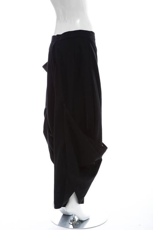 Kansai Yamamoto Black Linen Cotton Harem Pants, Circa 1980's For Sale 1