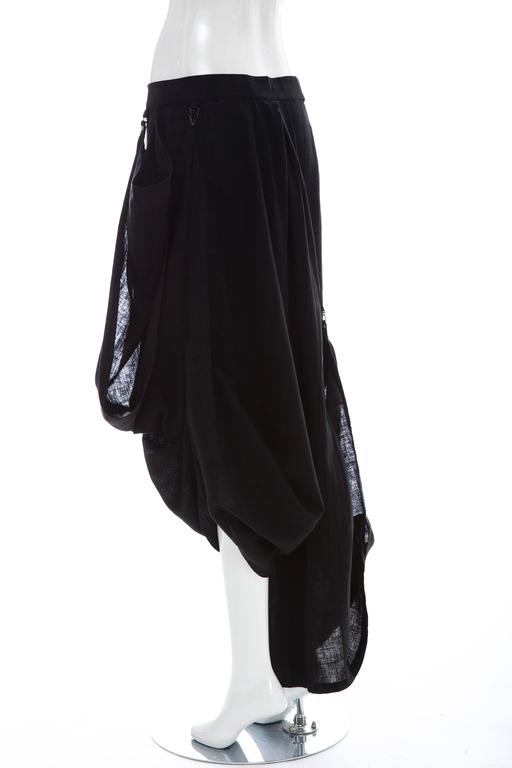 Kansai Yamamoto Black Linen Cotton Harem Pants, Circa 1980's For Sale 3