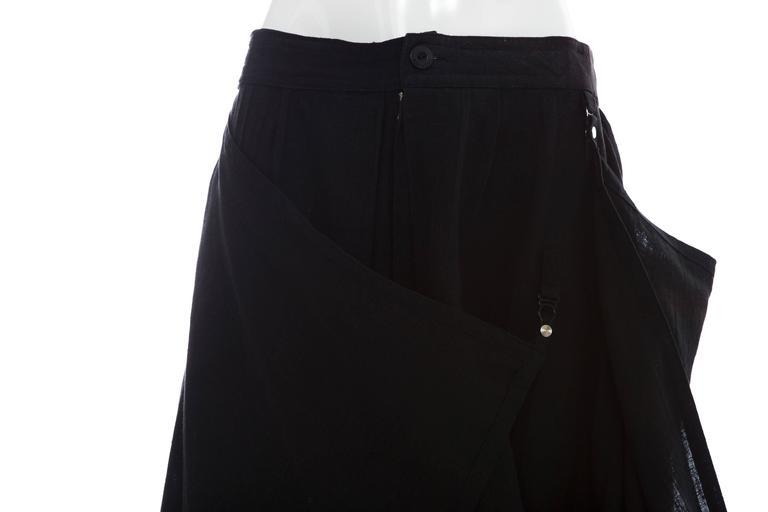 Kansai Yamamoto Black Linen Cotton Harem Pants, Circa 1980's For Sale 2