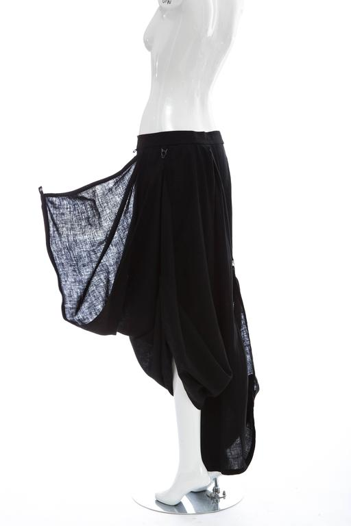 Kansai Yamamoto Black Linen Cotton Harem Pants, Circa 1980's For Sale 4