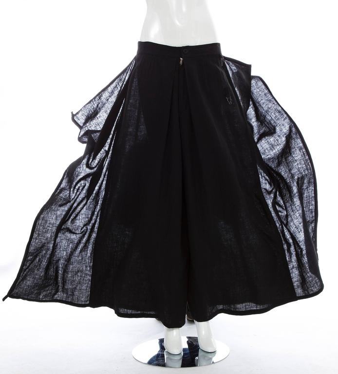 Kansai Yamamoto Black Linen Cotton Harem Pants, Circa 1980's For Sale 5
