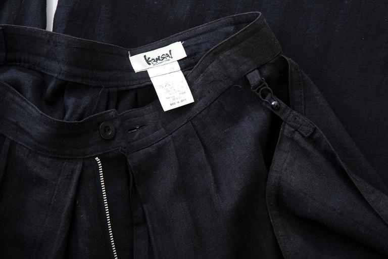 Kansai Yamamoto Black Linen Cotton Harem Pants, Circa 1980's For Sale 6