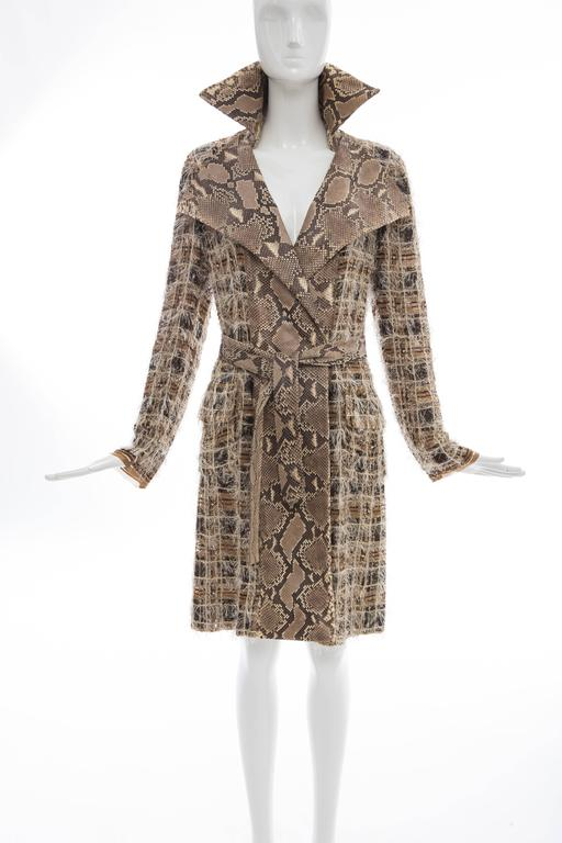 Gray Dolce & Gabbana Runway Python And Silk Chiffon Trench Coat, Spring - Summer 2005 For Sale