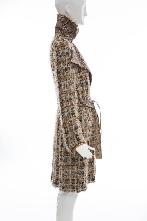Dolce & Gabbana Runway Python And Silk Chiffon Trench Coat, Spring - Summer 2005 In Excellent Condition For Sale In Cincinnati, OH