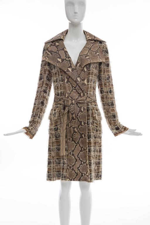 Dolce & Gabbana, Spring-Summer 2005, silk chiffon trench coat with sequined detail throughout, python accents at collar and front, tie accent at waist, dual flap pockets at hips, hidden snap closures at front and fully lined in silk.