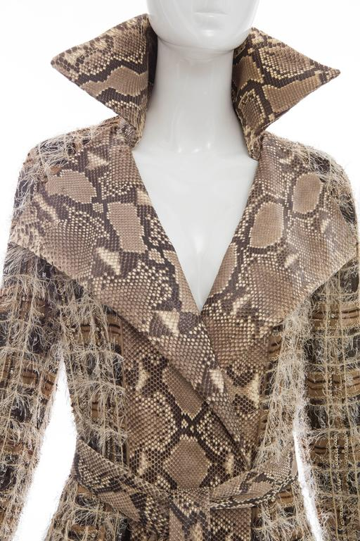 Dolce & Gabbana Runway Python And Silk Chiffon Trench Coat, Spring - Summer 2005 For Sale 1