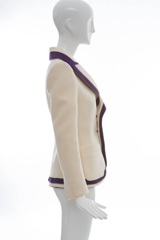 Balenciaga by Nicolas Ghesquière, Autumn-Winter 2007, runway wool structured blazer with shawl lapels, dual patch pockets, zip trim, enameled button closures and fully lined in printed silk.