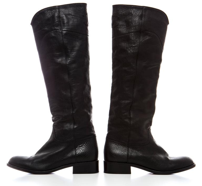 chanel black leather boots for sale at 1stdibs